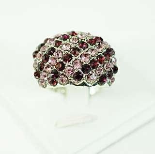 plated gemstone zirconia cz adjustanle ring costume fashion jewelry