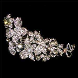 Bridal 3 Butterfly Flower Hair Comb Swarovski Crystal VTG Style Tiara
