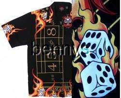 NEW Vegas craps dice flames biker shirt, Dragonfly, XL