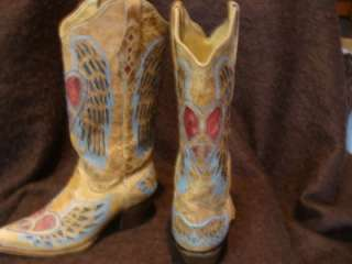 Womens Corral A1976 Western Heart & Peace Angel Wing Cowboy Boots
