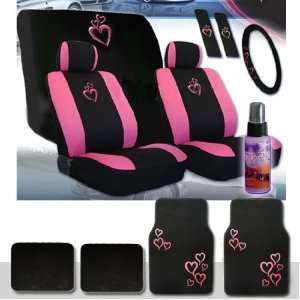 Universal Heart Design Car Seat Covers Set with Front and Rear Seat