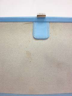 LAMBERTSON TRUEX Blue Leather Woven Satchel Handbag