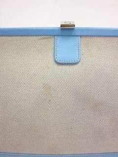 LAMBERTSON TRUEX Blue Leather Woven Satchel Handbag |