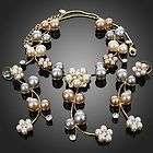 Ivory Pearl Flower Rhinestone Necklace Earring Set Swarovski Crystal
