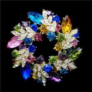 Charm Flower Wreath Brooch Pin Multi Swarovski Crystal