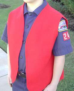 Cub Boy Scout Red Felt Patch Vest Medium, Small, Large