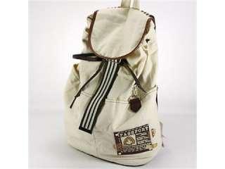 big beige fashion korea style lady canvas shoulder backpack bag