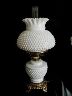 HTF~Beautiful 1960s Fenton Milk Glass Hobnail Lamp~Ribbon Crimp Shade