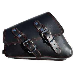 Sportster Black Leather Saddle Bag with Red Stitching