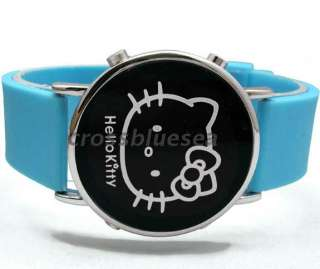 HelloKitty Lady Girl LED Wrist Watch red light Silicone band watches