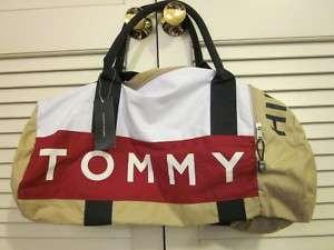 Tommy Hilfiger large duffle gym bag khaki white red,NWT