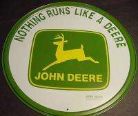 VINTAGE ROUND JOHN DEERE TRACTOR METAL TIN SIGN farm us deer Nothing