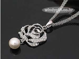 Rose Flower Nice Pearl Silver Color Fashion Necklace