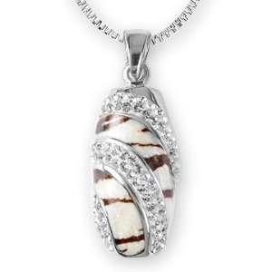 Ashley Arthur .925 Silver White Swarovski Crystal & Zebra