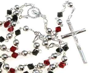 White Rosary and Crystal Bead Cross Necklace Black/Red