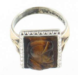 ANTIQUE STERLING TIGERS EYE ROMAN SOLDIER RELIEF RING 9