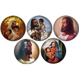 Set of 5 BLACK JESUS Pinback Buttons 1.25 Pins / Badges CHRISTIAN