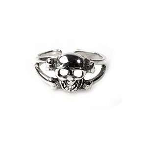 Sterling Silver Jolly Roger Pirate Skull And Crossbones Adjustable Toe