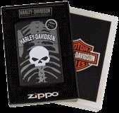 Zippo Harley Davidson Skull & Ribcage   Black Matte #28085