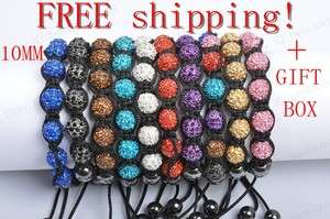 10MM Crystal Disco Ball Beads fashion Bracelet 12 Colours + Gift Box