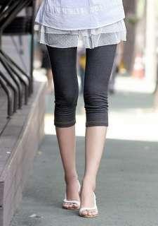 New Japan Girls Jean Style Tight Capri Leggings Render Pants 2Color