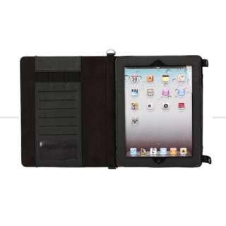Crocodile Pattern Shoulder Bag Stand Case Pouch for Apple iPad 2 Black