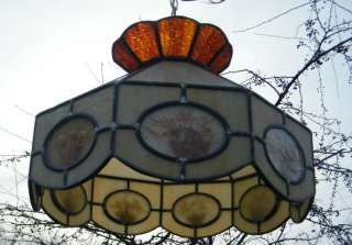VINTAGE FLOWERS LEAD STAINED GLASS HANGING LIGHT LAMP