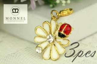 NJ49 Cute Ladybug Lily Charm Pendant (3 pieces)