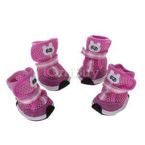 Free Shipping 4pcs Pink Pet Dog PU Boots Shoes Clothes Apparel Size M