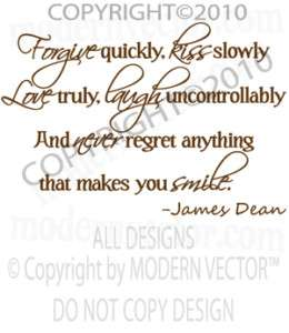 James Dean Quote Livingroom Vinyl Wall Quote Decal