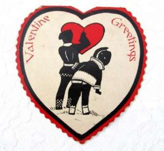 1930s Art Deco Valentine Red & Black Silhouette Card Heart Shaped