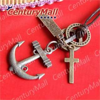 Necklace Fashion Anchor Cross Pendant Choker Genuine Real New XL067