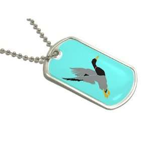 Duck Hunter Hunting   Military Dog Tag Keychain