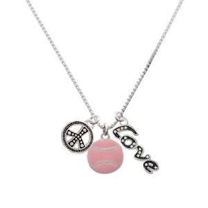 Large 2 D Pink Softball, Peace, Love Charm Necklace [Jewelry] Jewelry