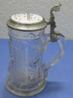 Antique Circa 1880   1910 German Glass & Pewter Beer Stein Vintage