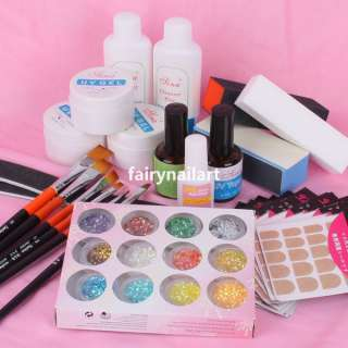 UV Gel French Nail Art Professional Full Set w/ Glitter Powder Brush