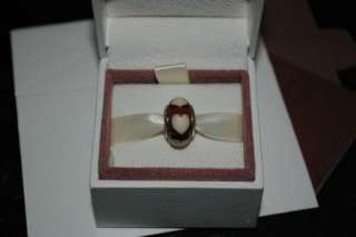 790662 Authentic PANDORA Orange/Beige Murano Glass Heart Charm SS
