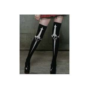 Service Dagger Skull Thigh High Socks Gothic Pin up Metal Psychobilly