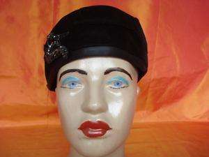 Pre 1920 VINTAGE BLACK VELVET LADY HAT WITH BEADS