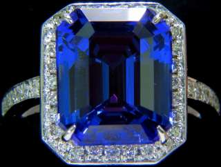 GIA 8.23CT NATURAL EMERALD CUT TANZANITE DIAMOND RING █HALO