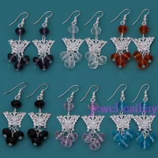 Silver Color hollow out Butterfly CZ multi color crystal beads dangle