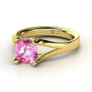 Enrapture Ring, Cushion Pink Sapphire 14K Yellow Gold Ring