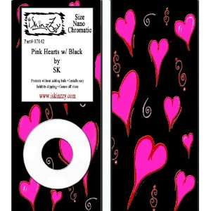 Pink Heart Black Ipod Nano 4 Skin Cover