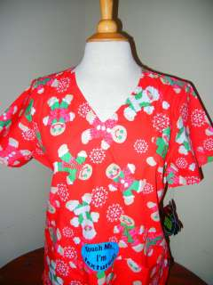 Peaches medical nursing short sleeve scrub Christmas red print top new