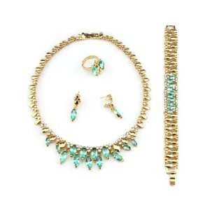 Ever Pretty Green Acrylic stones Golden Wholeset Necklace