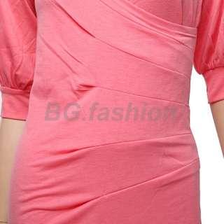 Fashion Korean Womens Cocktail Short Sleeve Mini Dress