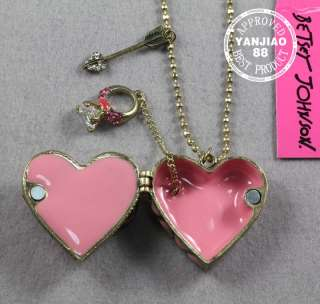 Free Ship CAN OPEN PINK HEART CRYSTAL RING BETSEY JOHNSON NECKLACE