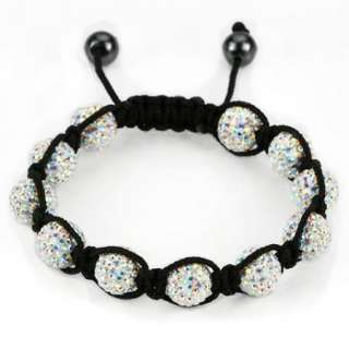 Shamballa Crystal 10mm Pave Disco Ball Bead Bracelets