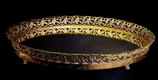 ORNATE VTG GOLD ORMOLU ROSES VANITY DRESSER OVAL MIRROR TRAY PERFUME
