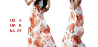 Women Adjustable Strap Red Flower Wht Long Maxi Dress S